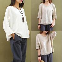 Womens Summer Plain Cotton Linen Scoop Neck 3/4 Sleeve T-shirt Blouse Tops