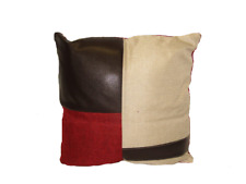 "Leather Geo Decorative Throw  Pillow Cushion Sofa / Bed - 16""X16Inch"