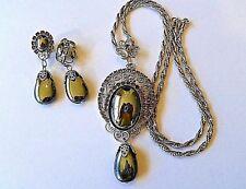 RARE 100% AUTHENTIC JULIANA  Smokey Crystal & Grey Glass Necklace & Earring SET