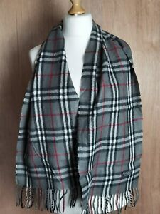 """Vtg Burberry London Scarf  Grey classic check 100% Lambswool Authentic 58""""x12"""""""