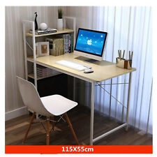H Computer Desk Movable Portable Bookshelf Workstation Modern Office Home Table