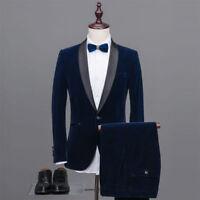 Men Navy Blue Velvet Slim Fit Suit Groom Tuxedo Formal Wedding Prom Suit Custom