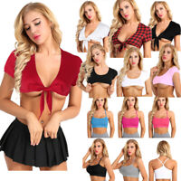 Womens Deep V Plunge Tie Up Knot Crop Top Blouse School Girl T-shirt Tank Tops