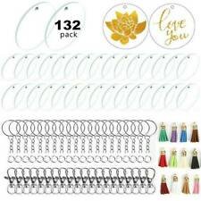 132Pcs Acrylic Clear Circle Discs Blanks Keychain Tassels Kit for DIY and Craft