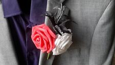 Gents Red, Black & White Buttonhole
