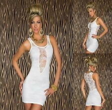 Sz S 8 10 Sexy White Sleeveless Lace Party Club Dance Formal Cocktail Chic Dress