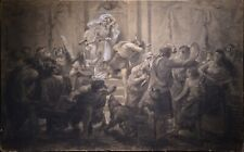 ca 1880 Giant Academy Grisaille Drawing THORE by Famous Swedish Cartoonist