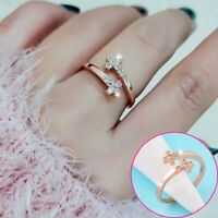 Fashion Tiny Crystal Cross Adjustable Rings For Women Rose White Gold Jewelry