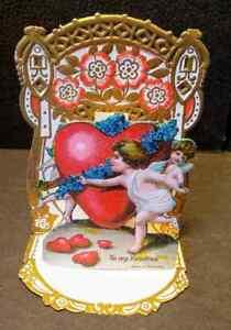Vintage Valentine's Day Card VALENTINE Dimensional GERMANY Angels HEART