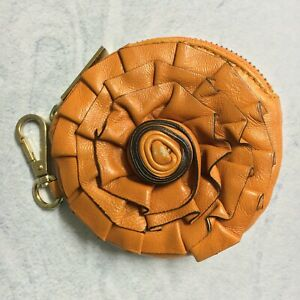 Valentino Garavani Orange Floral Round Leather Coin Purse