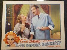 LOVE BEFORE BREAKFAST MOVIE ORIGINAL 1936 LOBBY CARD CAROLE LOMBARD
