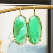 NWT Kendra Scott Elle Faceted Jade Green Illusion Earrings Gold Tone