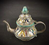 Superbe petite Théière marocaine de décoration grés émaillé et étain - signée