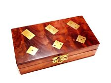 Handmade Wooden games with Domino and 6 DICES dans game storage box Design 4