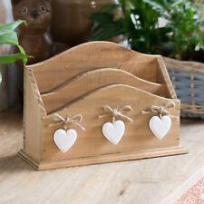 Vintage Wooden Letter Rack Hanging Heart Shabby Chic Holder Tray Desk Organiser