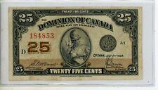 1923 Dominion Of Canada 25 Cent Banknote #4853