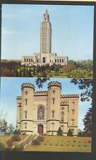 Unused Postcard The Old and New Louisiana State Capitol Buildings Baton Rouge LA