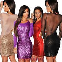Vestito donna abito paillettes inserti velati trasparenti party elegante DL-939