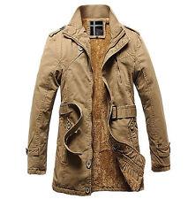 Z Mens Cotton Denim Fleece Winter Belt Vintage Quilted Casual Thicken Jackets