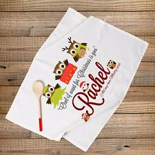 PERSONALISED CHRISTMAS TEA TOWEL COUPLES GIFT- Owl I want for Christmas