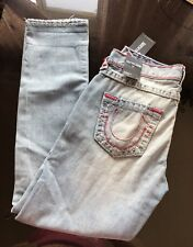 Nwt True Religion Audry Slim Distressed Ripped Mid Rise Women Jeans Size 26