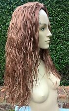 ginger copper red wavy curly frizzy puffy 3/4 half head long hair wig
