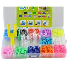 600 Colourful Rubber Loom Band Bracelet Making Kit Set S-Clips Loom Tool Finding