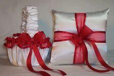 WHITE SATIN / RED RIBBON TRIM FLOWER GIRL BASKET & RING BEARER PILLOW #3