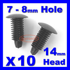 FIR TREE PLASTIC PUSH IN BUTTON PANEL TRIM INTERIOR CLIPS 7 - 8mm Hole 14mm Head