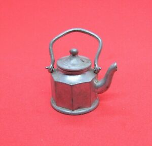 Antique Dollhouse Miniature Metal Teapot with Lid Germany