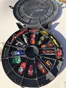 HOT WHEELS TIRE CASE FULL OF CARS, REDLINES JOHNNY LIGHTNING MATCHBOX