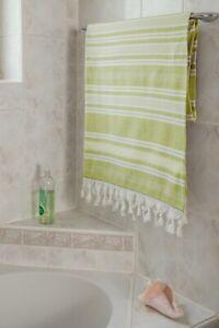 Strandtuch Badetuch Duschtuch Sauna Hamam reine Baumwolle 100x200 cm grün weiß