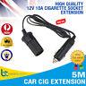 5M Car Lighter Socket Adapter Extension Cord Cable Cigarette adaptor 12V 10A