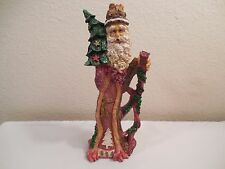 """Unique Jaimy Resin Santa Figurine ~ Looks Like It's Carved From A Tree ~ 8"""" Tall"""