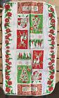 VTG 1950s Christmas Tea Towel Linen Santa Reindeer Tree Candle Snow Flake 27x15