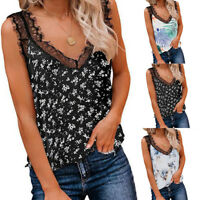 Women's Summer Lace Floral Vest Top Sleeveless Blouse Casual Tank Tops T-Shirt