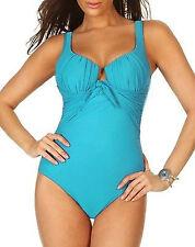 NWT New MIRACLESUIT Sandra D One Piece Tank Swimsuit Aquamarine Green Blue 10