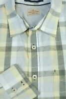 Tommy Bahama Men's White Green Yellow Check Cotton Casual Shirt L Large