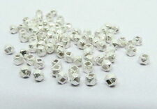 3 mm Nuggets Bali Beads Facet Spacers Silver Plated Handmade 50 Pieces Handmade