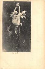 LE STELLE NAKED ANGELS DANCING IN THE STARLIT SKY ITALY ART POSTCARD (c. 1905)