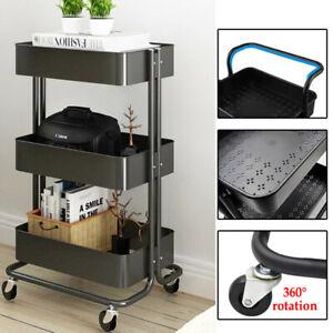 3 Tier Slim Kitchen Storage Trolley Cart Rack Tray Shelf Rolling Wheel W/ Handle