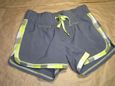 Lululemon 4 Run Motion Shorts Coal Soot Antidote Lime Green Plaid EUC! RARE!