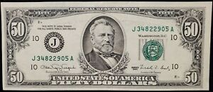 🔥 1990 USD $50 FIFTY DOLLAR FEDERAL RESERVE NOTE | ERROR BLEED THRU FROM BACK🔥