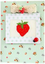 Strawberry Cross Stitch Card Kit By Luca-S Ladybird and Strawberry Buttons