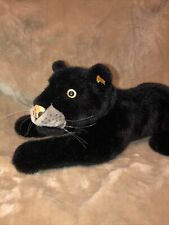 """24"""" STEIFF BLACK PANTHER GIANT PLUSH STUFFED ANIMAL DOLL CAT HTF Button In Ear"""