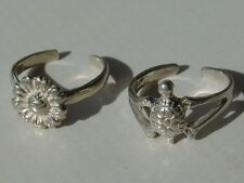 2 925 Sterling Silver Ring Toe Child Adjustable Ring Lot Turtle Daisy Sunflower