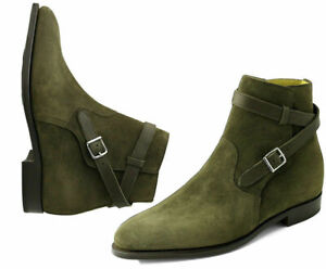 Mens Handmade Jodhpurs Ankle Suede Leather Boots Olive Green Formal Wear Shoes
