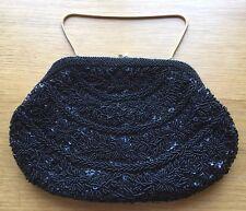 Vintage Le Soir Handbags Lips Purse Chain Dark Blue Black Sequined Beaded #2