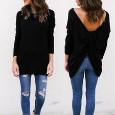 UK Womens Plus Size Long Sleeve Jumper Sweater Ladies Loose Casual Backless Tops