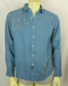 Claudio Milano Men's Shirt Blue Linen Embroidered Size M (V800)